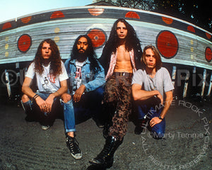 Photo of Soundgarden during a location photo shoot in 1989 by Marty Temme