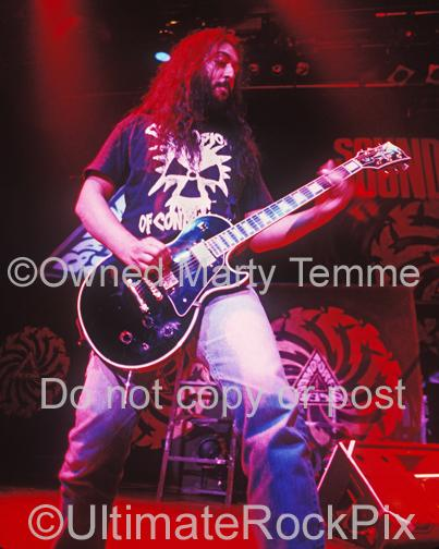 Photos of Guitarist Kim Thayil of Soundgarden Playing a Gibson Les Paul in Concert in 1991 by Marty Temme