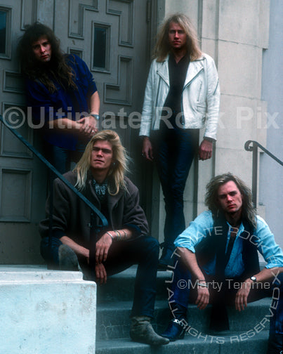 Photo of the band Shark Island during a photo shoot in 1988 by Marty Temme