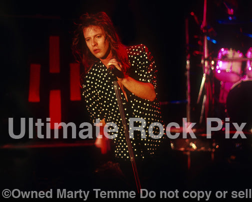 Photo of singer Richard Black of Shark Island in concert in 1988 by Marty Temme