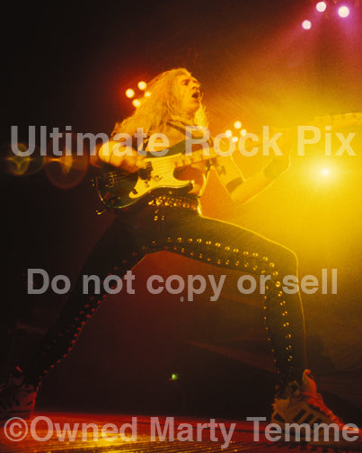 Photo of Billy Sheehan of Mr. Big in concert in 1991 by Marty Temme