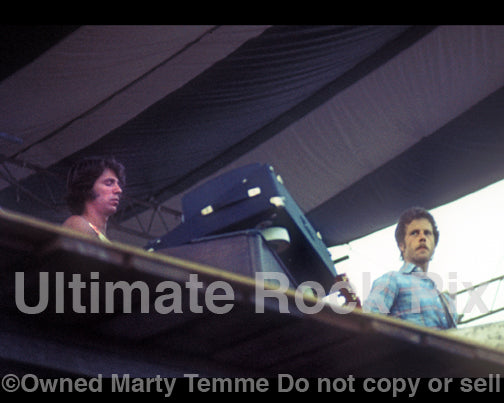 Photo of Paul Harris and Chris Hillman of The Souther Hillman Furay Band in concert in 1974 - shf7449