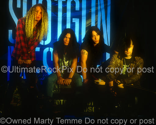 Photo of the band Shotgun Messiah during a photo shoot in 1992 by Marty Temme
