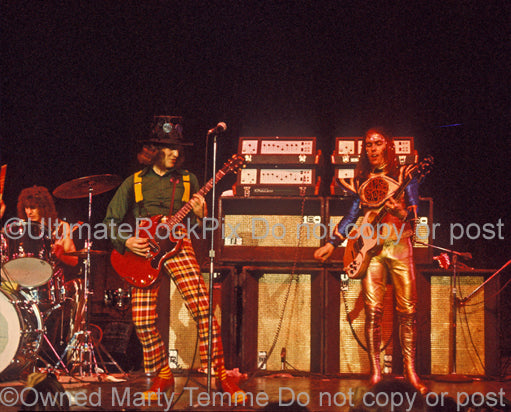 Photo of Don Powell, Noddy Holder and Dave Hill of Slade in 1973 by Marty Temme