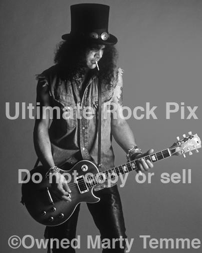 Black and White Photo of Guitarist Slash of Guns N' Roses and Velvet Revolver During a Photo Shoot by Marty Temme