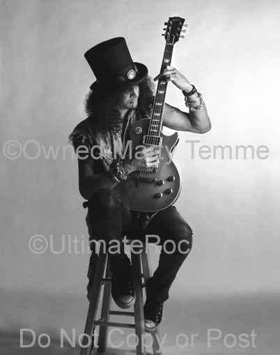 Black and white photo of Slash of Guns N' Roses with his Les Paul during a photo shoot by Marty Temme