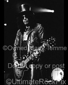 Black and White Photos of Slash of Velvet Revolver and Guns N' Roses in Concert by Marty Temme