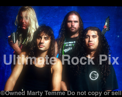 Photo of the band Slayer during a photo shoot in 1990 by Marty Temme