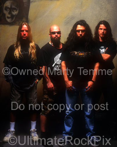 Photo of the Thrash Metal band Slayer during a photo shoot in 1998 by Marty Temme
