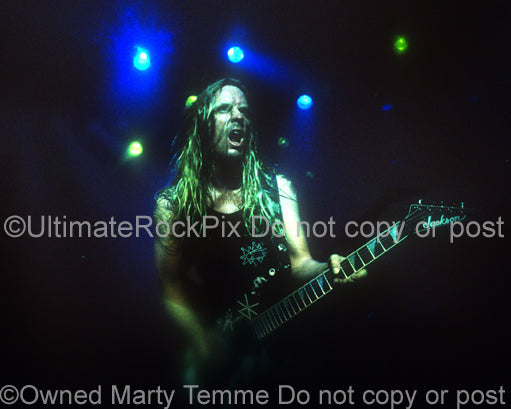 Photo of Jeff Hanneman of Slayer in concert in 1998 by Marty Temme