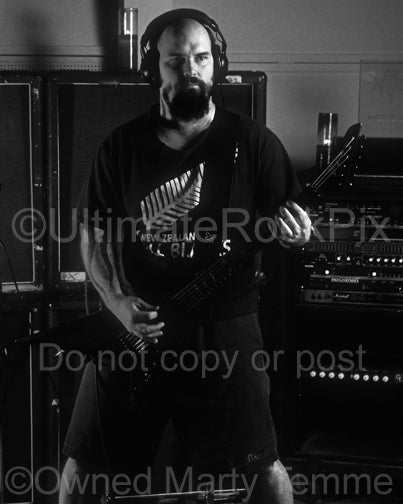 Black and white photo of Kerry King of Slayer during a photo shoot in 1998 by Marty Temme