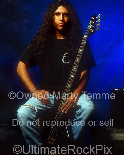 Photo of singer and bassist Tom Araya of Slayer during a photo shoot in 1990 by Marty Temme