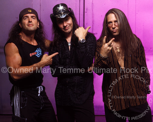 Photo of Bobby Rock, Mark Slaughter and Dana Strum of Slaughter in 2003 by Marty Temme