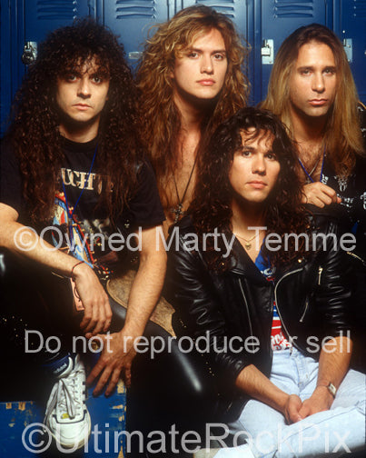 Photo of the rock band Slaughter during a photo shoot in Detroit, Michigan in 1990