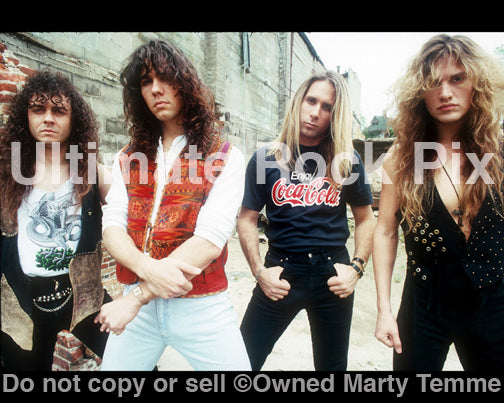 Photo of the Rock Band Slaughter during a location shoot in Detroit in 1990 by Marty Temme