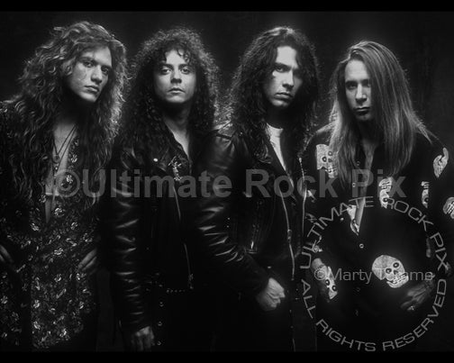 Black and white photo of Slaughter during a photo shoot in 1991 in Hollywood, California by Marty Temme