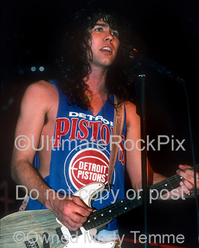 Photo of Mark Slaughter onstage in Detroit, Michigan in 1990 by Marty Temme