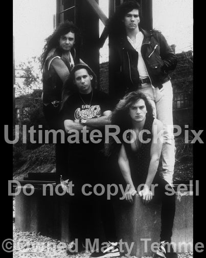Black and white photo of the band Slaughter during a photo shoot in Detroit, Michigan in 1990 by Marty Temme