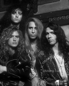 Black and white photo of the rock band Slaughter during a photo shoot in 1991 by Marty Temme