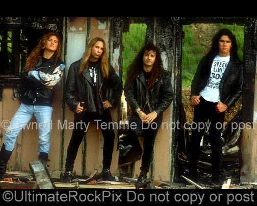 Photo of the rock band Slaughter during a photo shoot in 1992 by Marty Temme