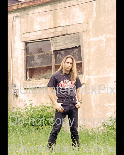 Photo of Dana Strum of Slaughter during a photo shoot in Detroit in 1990 by Marty Temme