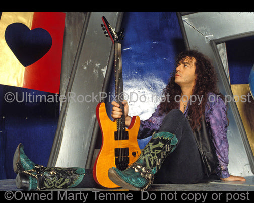 Photo of Tim Kelly of Slaughter during a photo shoot in 1991 by Marty Temme