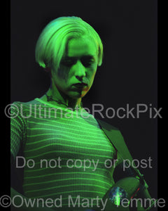 Photo of D'arcy Wretzky of Smashing Pumpkins in concert in 1994 by Marty Temme