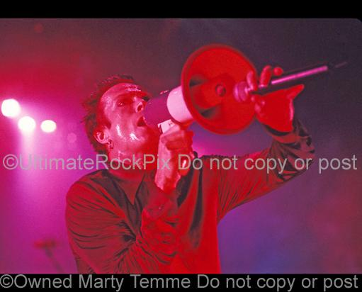 Photos of Scott Weiland of Stone Temple Pilots Using His Electric Megaphone in Concert by Marty Temme