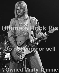 "Black and white photo of James ""JY"" Young of Styx playing a Stratocaster in concert in 1979 by Marty Temme"