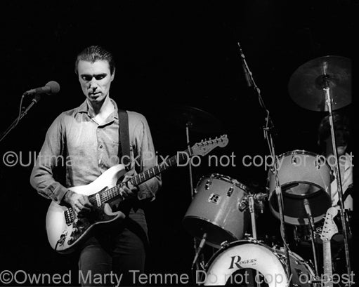 Black and white photo of David Byrne of Talking Heads onstage in 1979 by Marty Temme