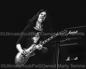 Photos of Guitarist Gary Moore of Thin Lizzy in Concert in 1977 by Marty Temme