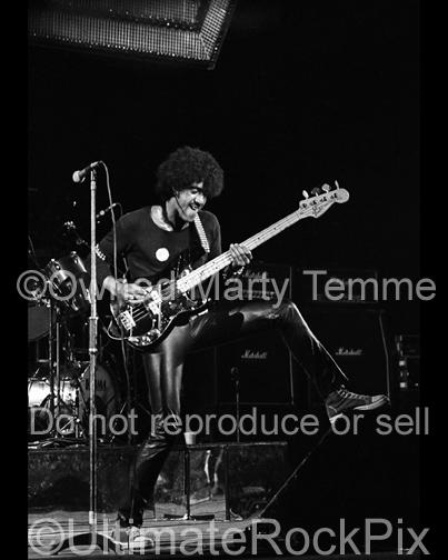 Photos of Phil Lynott of Thin Lizzy in Concert in 1977 by Marty Temme
