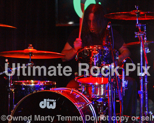 Photo of drummer Brian Tichy of Gilby Clarke in concert in 2008 by Marty Temme