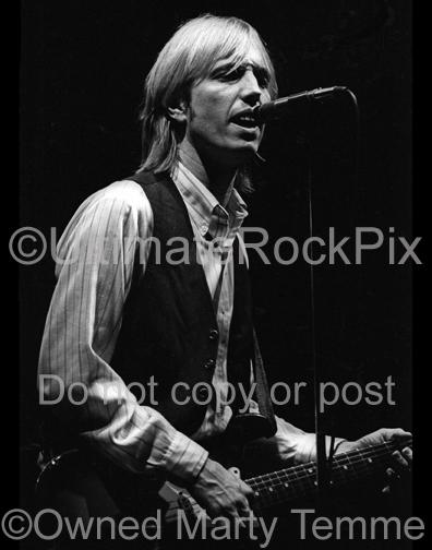 Photos of Musician Tom Petty Playing a Fender Stratocaster in Concert in 1980 by Marty Temme