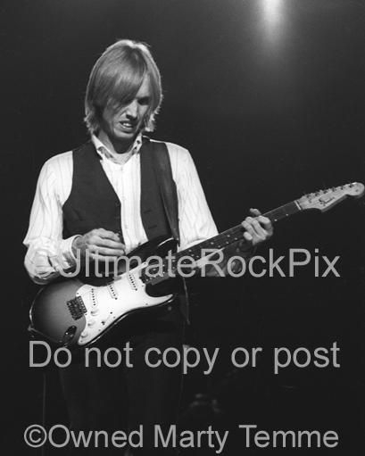 Photos of Tom Petty Playing a Fender Stratocaster in Concert in 1980 by Marty Temme