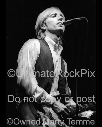 Photos of Musician Tom Petty Playing a Fender Stratocaster in 1980 by Marty Temme