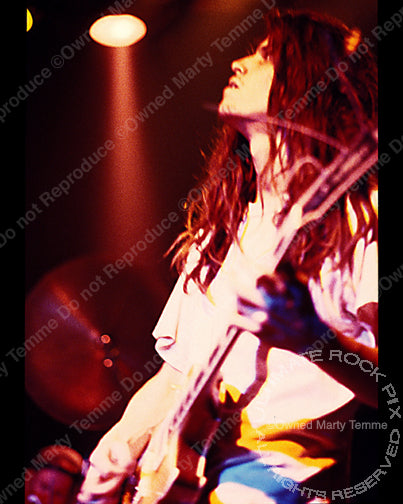 Photo of guitar player Adam Jones of Tool in concert in 1991 by Marty Temme