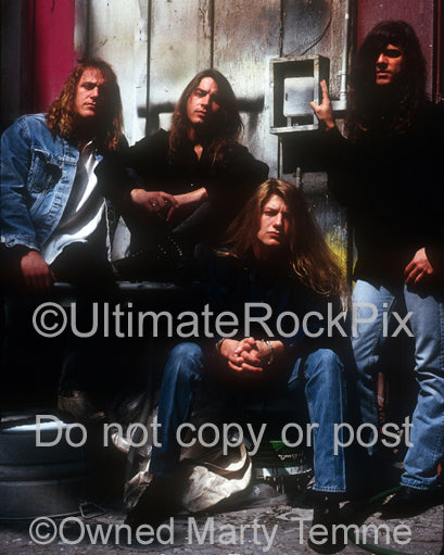 Photo of the band Tora Tora during a photo shoot in 1992 by Marty Temme