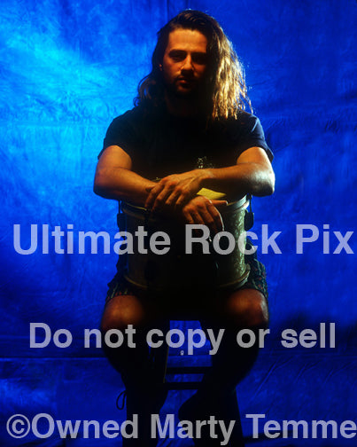 Photo of drummer Chris Frazier of Steve Vai during a photo shoot in 1993 by Marty Temme