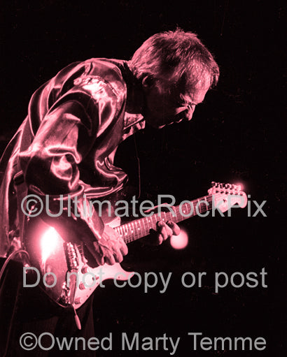 Color tinted black and white photo of Robin Trower in concert in 1999 by Marty Temme