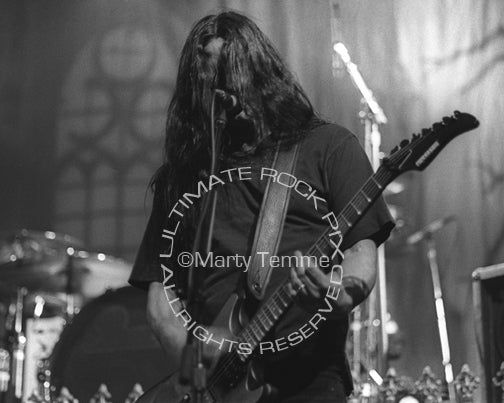 Black and white photo of Kenny Hickey of Type O Negative in concert by Marty Temme
