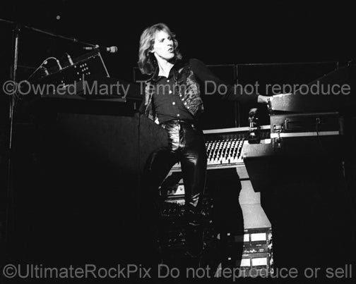 Photo of keyboardist Eddie Jobson of the band U.K. in concert in 1979 by Marty Temme