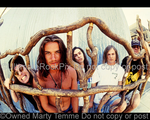 Photo of the band Ugly Kid Joe during a photo shoot in 1992 by Marty Temme