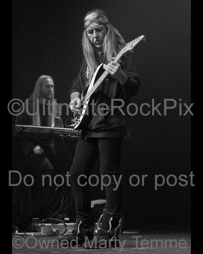 Black and White photo of Uli Jon Roth in concert in 2008 by Marty Temme
