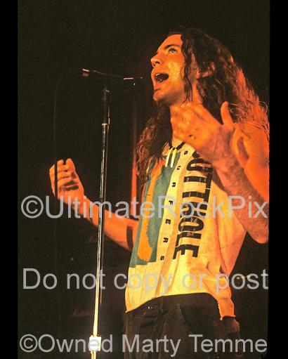 Photos of Eddie Vedder of Pearl Jam in Concert in 1991 by Marty Temme
