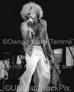 Photo of Sammy Hagar of Van Halen in Concert in 1986 by Marty Temme