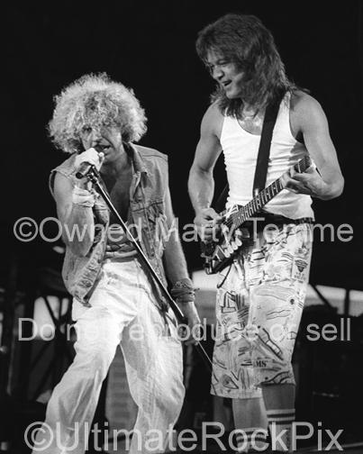 Photos of Eddie Van Halen and Sammy Hagar of Van Halen in Concert in 1986 by Marty Temme