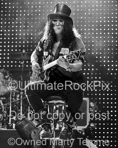 Black and White Photos of Slash of Velvet Revolver and Guns N' Roses Playing a Gibson 335 in Concert by Marty Temme