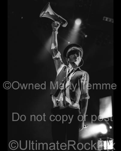 Black and White Photos of Scott Weiland of Velvet Revolver with His Megaphone in Concert by Marty Temme