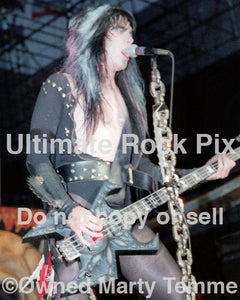 Photo of Blackie Lawless of W.A.S.P. in concert in 1985 by Marty Temme